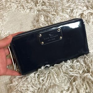 navy patent leather kate spade zip around wallet